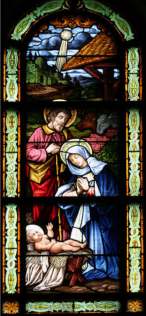 Christmas scene in stained glass window from http://www.flickr.com/photos/clairity/1372648760/